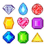 Pixel gems for games icons vector set Royalty Free Stock Photos