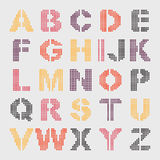 Pixel geometric alphabet. For design Stock Illustration