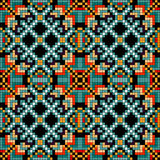 Pixel geometric background in retro style seamless pattern vector illustration Stock Photo