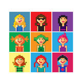 Pixel girls avatar. Set of pixel girl avatar royalty free illustration