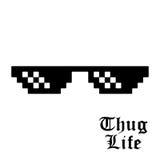 Pixel glasses isolated. On white background. Thug life meme glasses. Vector illustration Royalty Free Stock Photography