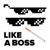 Pixel Glasses Vector. Like A Boss. Thug Lifestyle. For Meme Photos And Pictures. Isolated Illustration. Black Pixel Glasses Vector. Thug Lifestyle. For Meme Stock Image