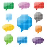 Pixel glossy speech bubbles. Illustration of pixel glossy speech bubbles. Vector illustration Royalty Free Stock Images
