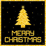 Pixel Gold Glitter Christmas Card. EPS8 Vector Stock Image