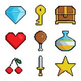 Pixel graphic game objects. 8 bit style pictures for various games. Vector sword and chest, cherry and potion illustration Vector Illustration