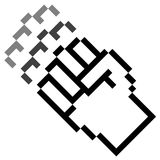 Pixel graphic hand - fist in motion Stock Photos