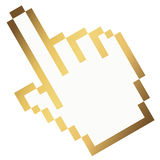 Pixel graphic hand - forefinger gold Stock Images