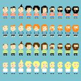 Pixel haircuts. Many pixel art icons with different men's haircuts and clothes Vector Illustration