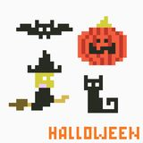 Pixel halloween. Set of four icons on halloween theme - bat, pumpkin. witch and cat Stock Illustration