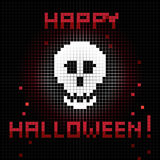 Pixel halloween skull. Halloween greetings card, pixel illustration of a scoreboard composition with digital drawing of a skull laughing and holiday text royalty free illustration