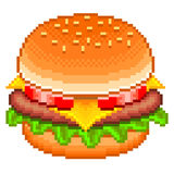 Pixel hamburger  vector Stock Photos