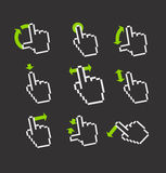 Pixel hand cursors collection in perspective Royalty Free Stock Image