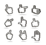 Pixel hand cursors collection Stock Image