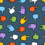 Pixel hand cursors seamless pattern Royalty Free Stock Photos