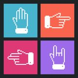 Pixel Hand Flat icons for Web. Stock Photo