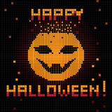Pixel happy halloween pumpkin. Halloween greetings card, pixel illustration of a scoreboard composition with digital drawing of a pumpkin laughing and holiday stock illustration