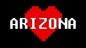 Pixel heart Arizona word text glitch interference screen seamless loop animation background new dynamic retro vintage. Pixel heart word text glitch interference stock video