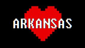 Pixel heart Arkansas word text glitch interference screen seamless loop animation background new dynamic retro vintage. Pixel heart word text glitch interference stock video footage