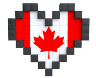 Pixel Heart as Canada Flag Royalty Free Stock Photos