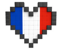 Pixel Heart as France Flag Stock Images