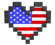 Pixel Heart as USA Flag Royalty Free Stock Image