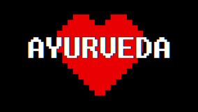 Pixel heart AYURVEDA word text glitch interference screen seamless loop animation background new dynamic retro vintage. Pixel heart word text glitch interference stock footage