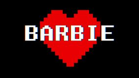 Pixel heart BARBIE word text glitch interference screen seamless loop animation background new dynamic retro vintage. Pixel heart word text glitch interference stock footage