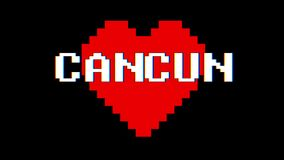 Pixel heart CANCUN word text glitch interference screen seamless loop animation background new dynamic retro vintage. Pixel heart word text glitch interference stock video