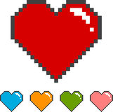 Pixel heart with color versions Stock Photography