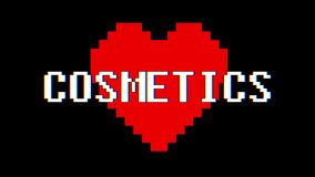 Pixel heart Cosmetics word text glitch interference screen seamless loop animation background new dynamic retro vintage. Pixel heart word text glitch stock video footage