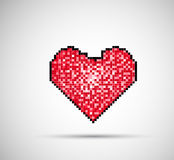 Pixel Heart on digital screen stock illustration