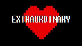 Pixel heart EXTRAORDINARY word text glitch interference screen seamless loop animation background new dynamic retro. Pixel heart word text glitch interference stock video