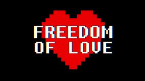 Pixel heart FREEDOM OF LOVE word text glitch interference screen seamless loop animation background new dynamic retro. Pixel heart word text glitch interference stock footage