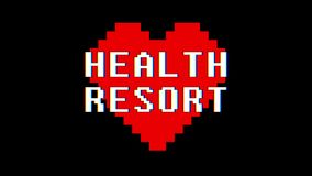 Pixel heart HEALTH RESORT word text glitch interference screen seamless loop animation background new dynamic retro. Pixel heart word text glitch interference stock video footage