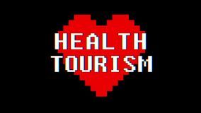 Pixel heart HEALTH TOURISM word text glitch interference screen seamless loop animation background new dynamic retro. Pixel heart word text glitch interference stock footage