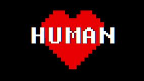 Pixel heart HUMAN word text glitch interference screen seamless loop animation background new dynamic retro vintage. Pixel heart word text glitch interference stock video footage