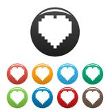Pixel heart icons set color vector. Pixel heart icon. Simple illustration ofpixel heart vector icons set color isolated on white royalty free illustration
