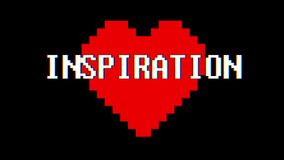 Pixel heart INSPIRATION word text glitch interference screen seamless loop animation background new dynamic retro. Pixel heart word text glitch interference stock video footage