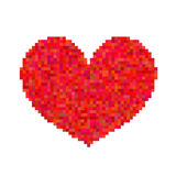 Pixel heart isolated on white background. Art vector illustration Stock Images