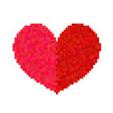 Pixel heart isolated on white background. Art vector illustration Royalty Free Stock Photography