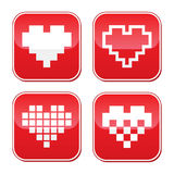 Pixel heart love  buttons set Stock Images