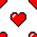 Pixel heart love seamless pattern color icon. Set vector illustration