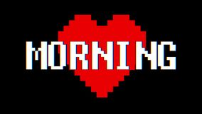Pixel heart Morning word text glitch interference screen seamless loop animation background new dynamic retro vintage. Pixel heart word text glitch interference stock video