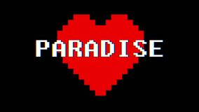 Pixel heart PARADISE word text glitch interference screen seamless loop animation background new dynamic retro vintage. Pixel heart word text glitch interference stock video footage