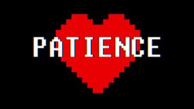 Pixel heart PATIENCE word text glitch interference screen seamless loop animation background new dynamic retro vintage. Pixel heart word text glitch interference stock footage
