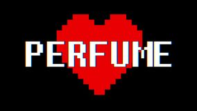 Pixel heart Perfume word text glitch interference screen seamless loop animation background new dynamic retro vintage. Pixel heart word text glitch interference stock video
