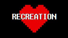 Pixel heart RECREATION word text glitch interference screen seamless loop animation background new dynamic retro vintage. Pixel heart word text glitch stock video footage