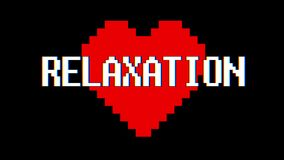 Pixel heart RELAXATION word text glitch interference screen seamless loop animation background new dynamic retro vintage. Pixel heart word text glitch stock footage
