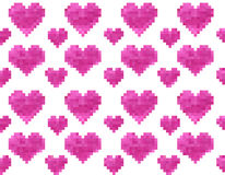 Pixel heart seamless pattern. Vector Illustration Stock Images