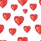 Pixel heart seamless pattern. Vector. Illustration Stock Photography